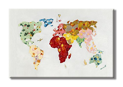 7CANVAS 100% Hand Painted Oil Paintings Colorful World Map Unique Educational Painting for Kids Room Children's Bedroom Decor