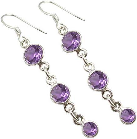 February birthstone Aquarius Oval Amethyst earrings in silver Australia oxidised silver earrings purple Oxidized Amethyst earrings