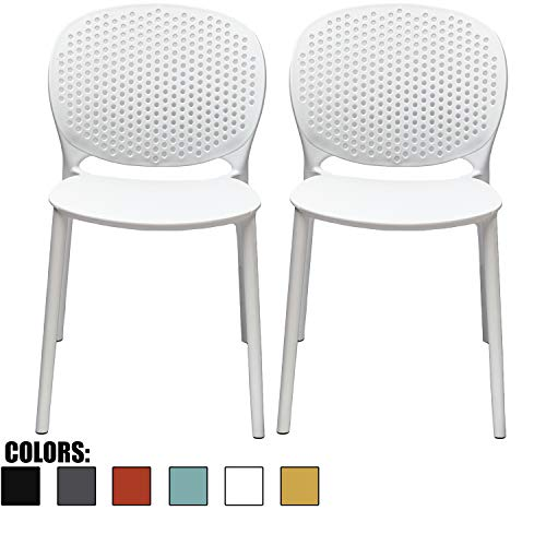 2xhome Set of 2 White Contemporary Modern Stackable Assembled Plastic Chair Molded with Back Armless Side Matte for Dining Room Living Designer Outdoor Garden Patio Balcony Work Office Desk Kitchen (Chairs Outdoor Plastic Contemporary)
