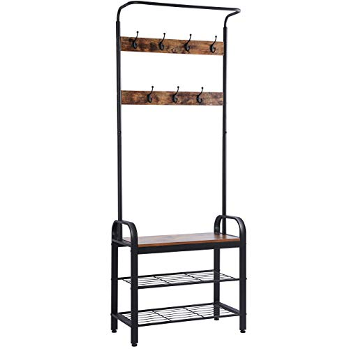 Ogrmar Vintage Coat Rack Shoe Bench, Hall Tree Entryway Storage Shelf, Wood Look Accent Furniture Metal Frame, 3 in 1 Design ()