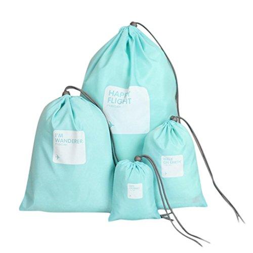 Storage Bag ,IEason Clearance Sale! 4Pcs Waterproof Nylon Travel Storage Bag Home Drawstring Organize Pouch (Blue)