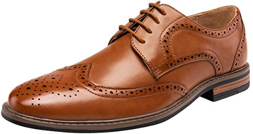(VEPOSE Men's Dress Shoes Classic Brogue Oxford Business Wingtip Shoes(10.5,Brown))