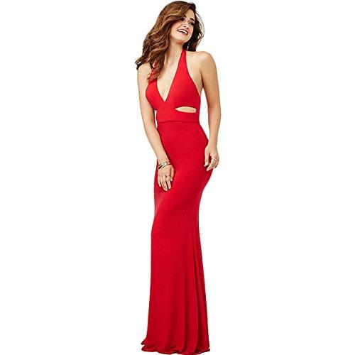 Plunge Halter Gown (JVN by Jovani Womens Plunge Halter Formal Dress Red 4)