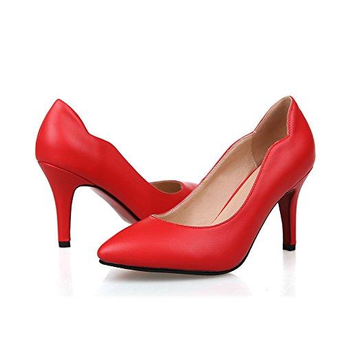 Suola Punta Con Gomma calzature Stile E Pompe Rosso punta Chiuso a Donne In Curve Amoonyfashion Tacchi C0xqaFtW4w