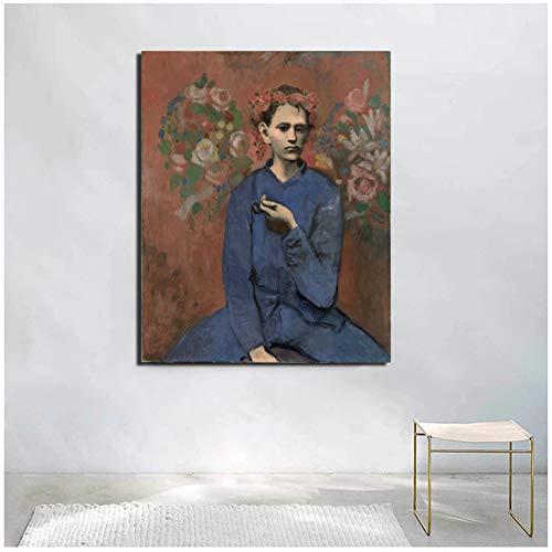 WSTDSM Cuadros de Pablo Picasso nino con tuberia Lienzo Impreso Carteles Pinturas para ladecoracion del hogar de laSala de Estar24x32 en sin Marco