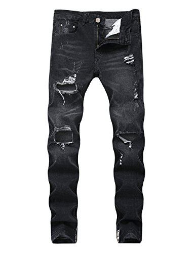 DSDZ Fashion Mens Stretch Ripped Hole Skinny Blue Jeans with Side Zippers Black 38 ()
