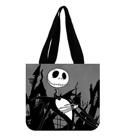 Angelinana Fashion Jack Skellington Printed Canvas Girl And Women Shopping Bag Two Side Tote Bag (Jack Skellington Tote Bag)