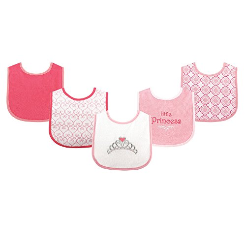 Luvable Friends Fun Prints Drooler Bibs, Pink Princess, 5 Count Princess Baby Bib
