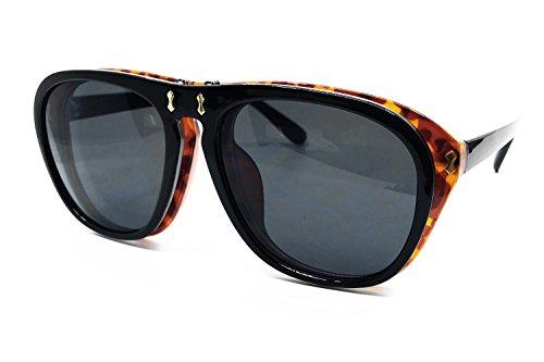 (O2 Eyewear 8021 Premium Oversized XL Flip Up Steampunk Retro Vintage Brand Designer Style Sunglasses (BLACK,)
