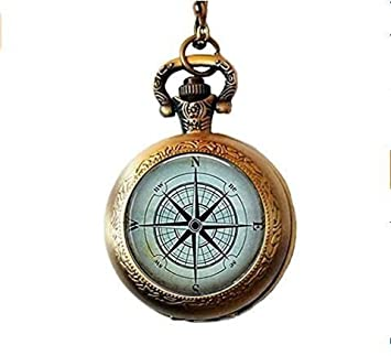 5ae8257ef259 Collar náutico con brújula de bolsillo para reloj