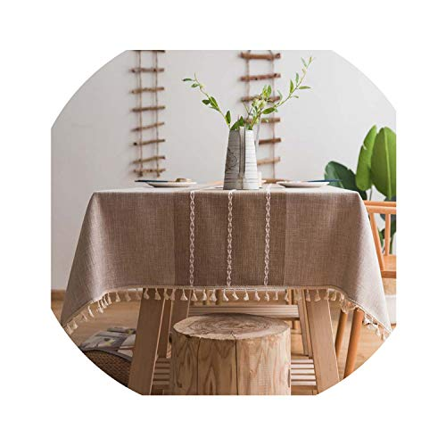 Miracle day Modern Minimalist Fringed Tablecloth Carpet Picnic Party Decorative Cotton Rectangular Table Cloth Tassel Piano Table Cover Coat,Brown,60x60cm