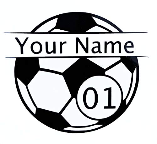 Custom Player Soccer Vinyl Decal - Personalized Soccer Ball Bumper Sticker, for Tumblers, Laptops, Car Windows - Pick Your Players Name, Number, Size and Color