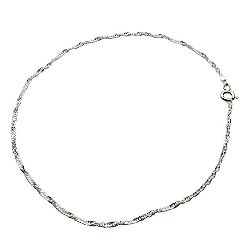 Sterling Silver Singapore Nickel Free Chain Anklet Italy, - Singapore From Women