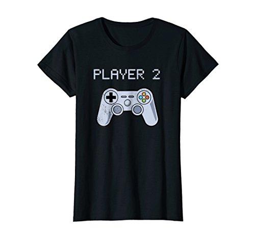 Womens Player 2 of 2 Retro Video Game Matching T-shirt Set Medium Black -