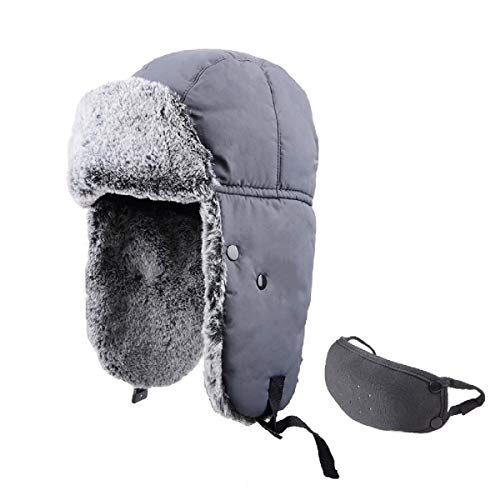 (TRIWONDER Winter Trooper Trapper Hat Ushanka Russian Ear Flap Aviator Hat with Mask (Grey - Rabbit Fur))