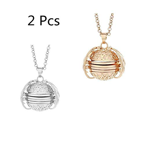 Ladysdress Mother's Day Valentine Birthday Gift, Expanding Photo Locket Necklace Pendant Souvenir Angel Wings Gift Jewelry,Creative Fashion Clothing Accessory (Sliver+Rose Gold)