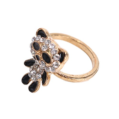 Kitty Party New Style Perfect And Fashion Gloden Panda Ring with Shining Rhinestones Ideal Gift for Lover,Ladies,Women,Girl,Females,Fashionista ,Suitable for Party,Gathering,Business Gift ()