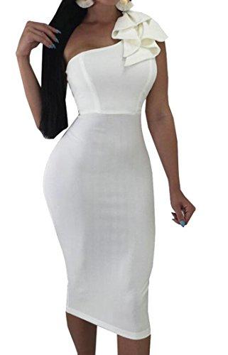 Midi Da Sera Donne Domple Una Aderente Spalla Vestito Indietro Aperto Stampato Bianco 8x0YHwYqC