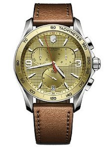 Victorinox 241659 Watch Chrono Classic Mens - Champagne Dial Stainless Steel Case Quartz Movement