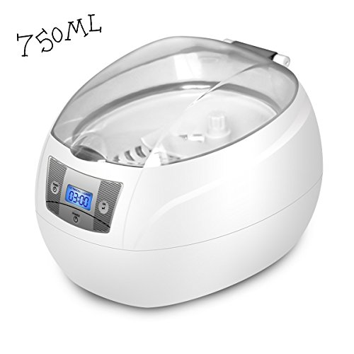 Ultrasonic Cleaner,Charminer 750ml Jewelry Cleaner Machine 42KHz Jewellery Washer Digital LCD Display Timer With Cleaning Basket For Eyeglasses Watches Necklace Rings Dentures Cleaning Grey Medium