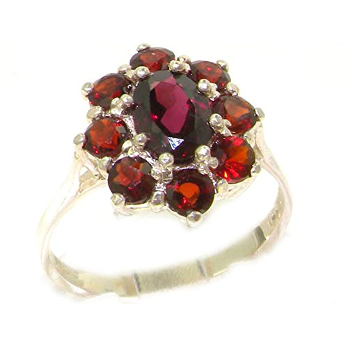 - 925 Sterling Silver Real Genuine Garnet Womens Cluster Ring - Size 11