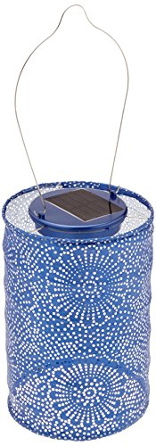 Allsop Home and Garden Soji Stella LED Outdoor Solar Lantern, Handmade with Weather-Resistant UV Treated Tyvek Fabric, Stainless Steel Hardware, Auto sensor on/off,  for Patio, Deck, Garden, Color (Midnight Blue)