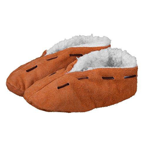 Lammfell-Hausschuhe   Damen & Herren   gefüttert & rutschfest   Leder-Puschen   Extra warmes Futter aus Lammfell-Imitat   Antirutsch   Winter-Pantoffeln   extra warm & weich