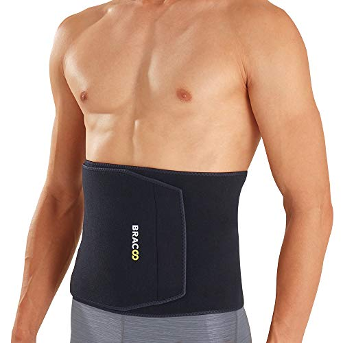 Bracoo Premium Waist Trimmer Weight Loss Wrap (Broad Coverage), Sweat Sauna Slim Belt for Men and Women - Abdominal Trainer, Stomach Fat Burner, Increased Core Stability, Metabolic Rate, SE22