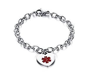Womens Stianless Steel Medical Alert ID Bracelets with Heart Charms Bracelets-Free Engraving from BBX JEWELRY