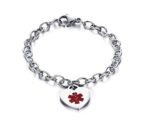 Women's Stianless Steel Medical Alert ID Bracelets with Link Chain Heart Charms Bracelets-Free Engraving,8.2 inch - Medical Charms For Bracelets