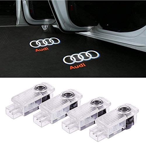 Car Door LED Logo Lights Projector Ghost Lights Laser Projector Lights Shadow Welcome Lamp Easy Installation for Audi A1 A3 A4 A5 A6 A7 A8 Q3 Q7 R8 TT Accessories 4 Pack