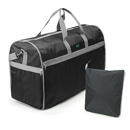 Lavievert Foldable Travel Duffle Bag Attached to Luggage Sports Gear Gym Bag for Outdoor Activities - Large ()