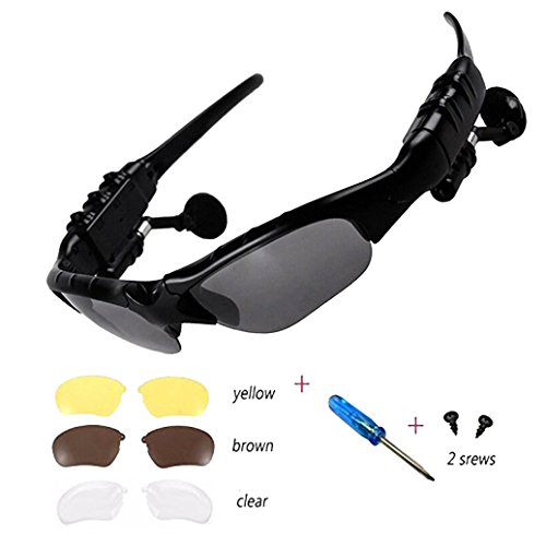 Wireless Bluetooth Headphones Stereo 4.1 Music Anti-ray Bluetooth Sunglasses for Men Support Both Headset and Hands-free for All Kinds of Cell Phone - Bluetooth With Sunglasses