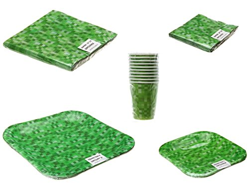 Green Block Pattern Party Pack (For 10 People) by Party Place