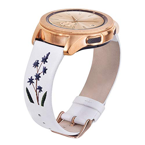 VIGOSS Band Compatible with Galaxy Watch 42mm Bands Women 3D Printing 20mm Soft Leather Strap Embossed Floral Replacement for Samsung Galaxy Watch 42mm/Active 40mm with Rose Gold Buckle White