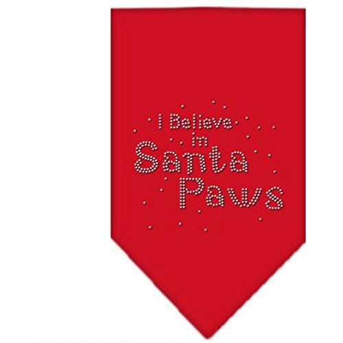 Dog Supplies Santa Paws Rhinestone Bandana Red Large