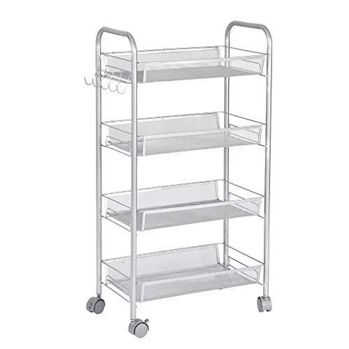 - ManxiVoo 4-Tier Metal Mesh Rolling Storage Cart with Utility Handle, 4-Shelf Shelving Unit on Wheels (Silver)