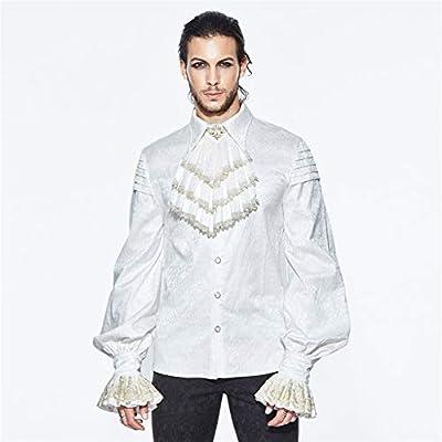 LHQ-HQ Primavera Y Otoño Steampunk Inglaterra Gótico Camisa Blanca For Hombre Camisa De Cuello Alto For Hombre Ropa gótica (Color : White, Size : XXL): Amazon.es: Deportes y aire libre