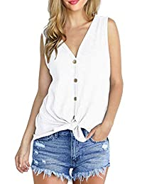 Oyamiki Women's Waffle Knit Tank Tops Tie Front Knot Henley Sleeveles Button Down Blouse Shirts