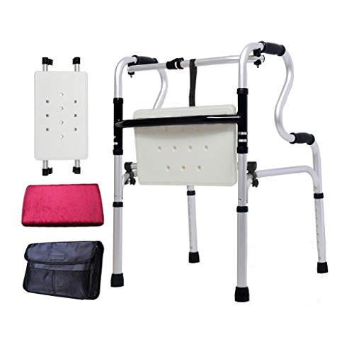 ZHBWJSH Flip Block Seat Walker Bathtub Four-Legged Stick Elderly Disabled Walker Aluminum Alloy Double Handrail with Wheel Assist 46cm × 52cm × 74cm