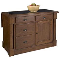 Farmhouse Kitchen Aspen Rustic Cherry Kitchen Island with Granite Top by Home Styles farmhouse kitchen islands and carts