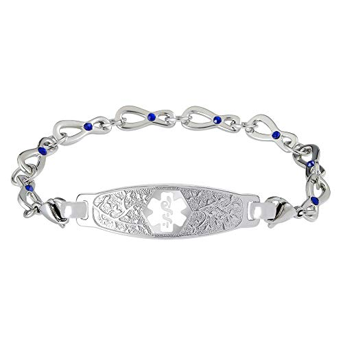Divoti Custom Engraved Medical Alert Bracelets for Women, Stainless Steel Medical Bracelet, Medical ID Bracelet w/Free Engraving - Beautiful Olive Tag w/Infinity Sapphire Crystal-White-6.5
