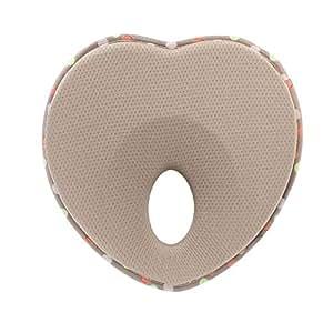 Newborn Baby Head Shaping Pillow | Memory Foam Cushion for Flat Head Syndrome Prevention Khaki
