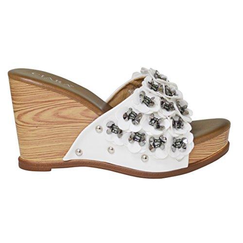 Flower White Sandal Diamante Slip Wedge On Ciara Rachel Ladies FxCgII