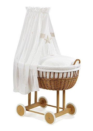 Christiane Wegner 8524 01-519 - Stubenwagen Bassinet mit großer Liegefläche, große Holzräder, behagliche Schlafumgebung für das Baby, Mobilität für die Eltern 83 x 43 cm