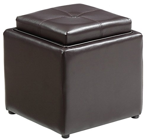 HODEDAH IMPORT HI 1184 Brown PVC Faux Leather Ottoman, - Flip Tray Seat