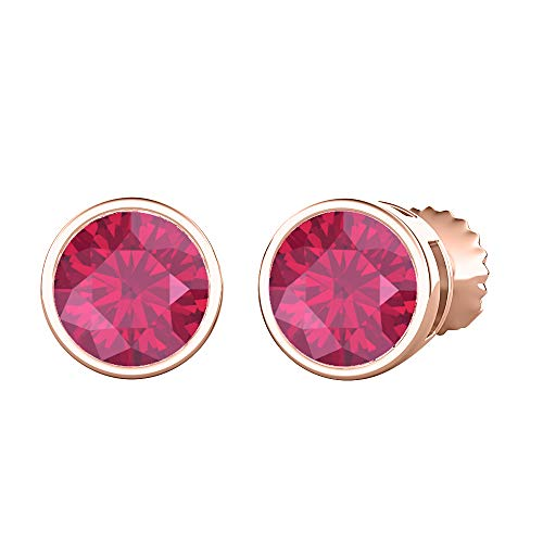 (tusakha Bezel Set Round Cut Created Pink Ruby (4MM) Solitaire Stud Earrings 14K Rose Gold Over .925 Sterling Silver For Women's)