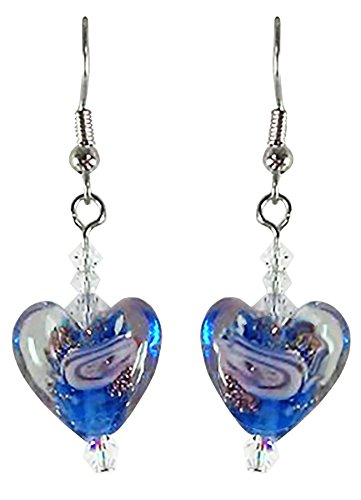 (Blue Swirl Murano Glass Heart and Swarovski Crystal Handcrafted Drop Earrings on Surgical Steel)