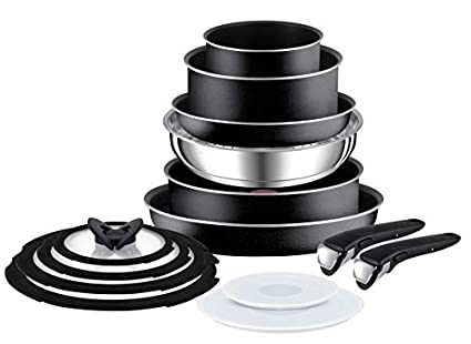 Tefal L2009542 Ingenio Essential 14 Piece Pots and Pans Set, Black- Not  compatible with induction hob