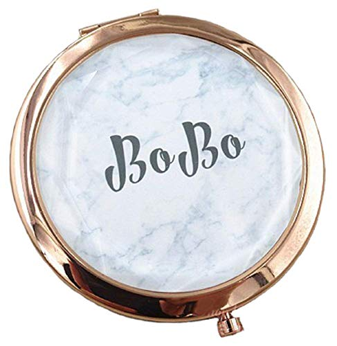 Personalized Custom Engraved Foldable Compact Mirror Purse Pocket Makeup Mirror with 1X/2X Magnification Velvet Gift Box Packing (rose gold 2)